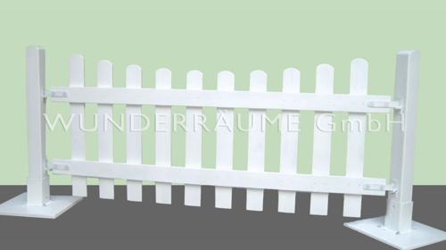 weißer Zaun als Umrandung - WUNDERRÄUME GmbH vermietet: Dekoration/Kulisse für Event, Messe, Veranstaltung, Incentive, Mitarbeiterfest, Firmenjubiläum