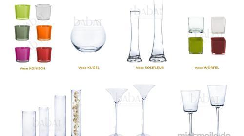 Hochzeitsdekoration VERLEIH Vasen, Kerzenständer, Martinivasen für Hochzeit ab 4€