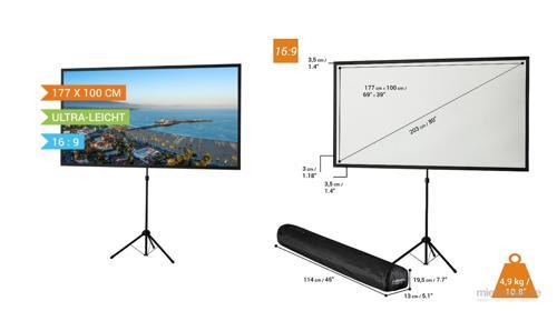 Versand deutschlandweit - Leinwand Stativleinwand für Projektion mit Beamer Projektionsfläche