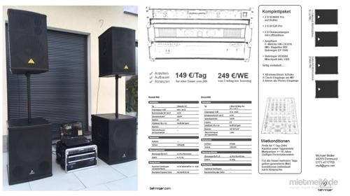 Zelt Partyzelt Musikanlage Tonanlage PA-Anlage 1,8KW RMS + Mischpult für Ihr Event