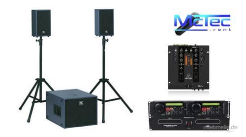 Bis ca. 70 Gäste Lautsprecher Musikanlage Beschallungsanlage Partyanlage Boxen Mischpult Doppel CD Player Mikrofon