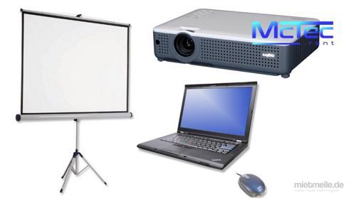 Laptop PC Videobeamer Beamer Stativleinwand Leinwand