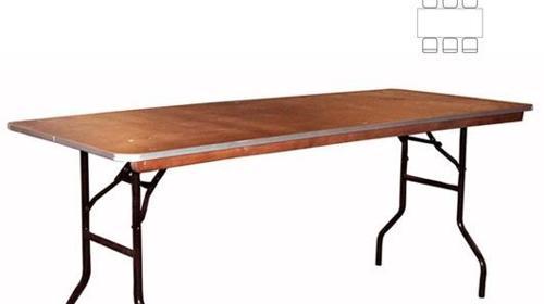 Bankett-Tisch eckig 180 x 76 cm (6 Personen)