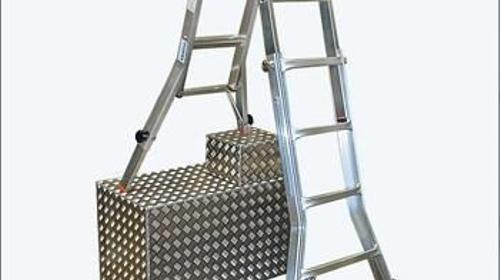 Teleskop Alu-Gelenkleiter, Treppenleiter, Leiter, Leitern bis 9 m - Ideal für Treppen und schwer zugängliche Stellen!