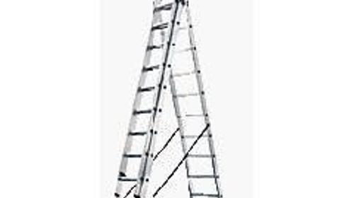 Kombileiter - Leiter - Treppenleiter Arbeitshoehe 9, 05 m - Anlegeleiter 1 - 2 - 3 teilig - Doppelsprossenleiter