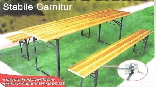 Bierzeltgarnitur  -  1 Tisch mit 2 Baenken / weitere Artikel wie Heizstrahler usw. vorraetig