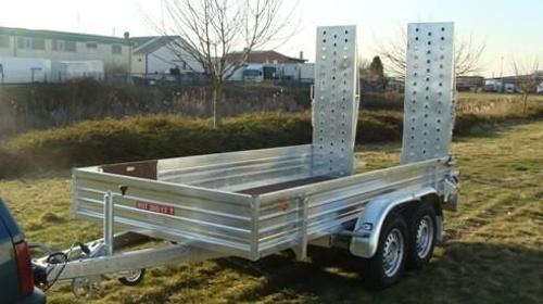 Bagger- + Maschinentransporter mit 2 Auffahrrampen - Tieflader 3.500 kg gebremst - doppelachser - Ladeflaeche: 3500 x 1700 x 400 - Nutzlast ca. 2.800 kg