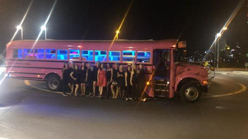 Pink Partybus US Schoolbus Party Schulbus Rosa