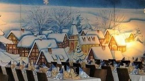 Winterdorf Kulisse, Weihnachten, Schnee, Schneelandschaft Winter