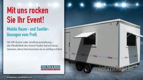 Eventtrailer, WC-Trailer, Miettoilette, mobile Toilette, Hygiene