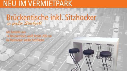 Brückentisch und Sitzhocker // Business Lounge mieten