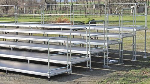Tribüne – Sitz-Tribüne Sitztribüne mit 6-Stufen und Geländer 12x6m