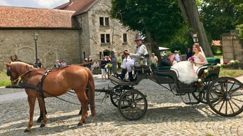 Hochzeitskutschfahrt in einer trationnellen Kutsche