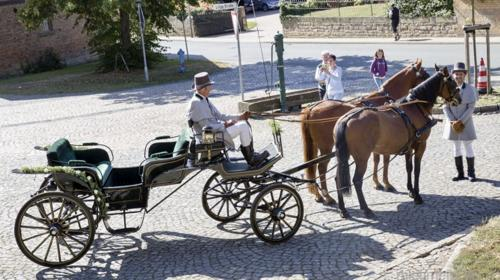 Trationnelle Hochzeitskutsche mieten, wir fahren mit Ihren Pferden vor Ort