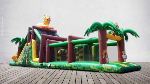 XXL-Hüpfburgen / Hindernisbahnen mit Kletterwand, Hindernissen und Rutsche 12m x 4m oder 17m x 4m *** verschiedene Größen und Ausführungen mit tollen Motiven erhältlich***