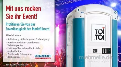 Veranstaltungs-Toilettenkabine mit Handwaschbecken/Miettoilette/Mobile Toilette/ Toilette/ DIXI-Klo/Zertifizierte Entsorgung/Hygiene/Handreinigungsspender/Toilettenwagen