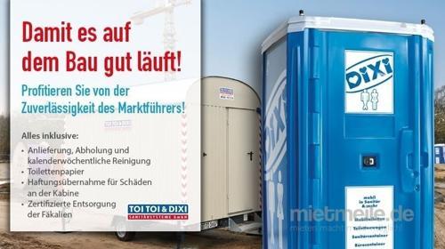 Baustellen-Toilettenkabine mit Handreinigungsspender/Miettoilette/Mobile Toilette/ Toilette/ DIXI-Klo/Zertifizierte Entsorgung/Hygiene/Waschbecken/Toilettenwagen