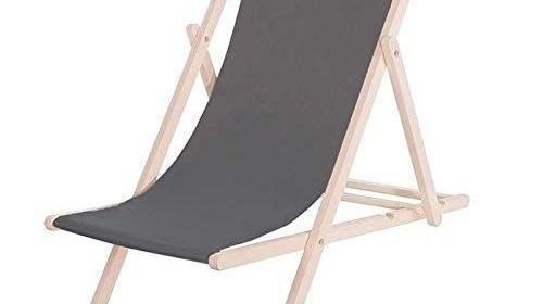 Strandliege / Sonnenliege / Relaxliege, Stoffbespannung: grau