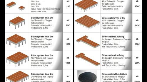 Bühne Podest, Laufsteg, Rundbühne / Podestbühnen auch andere Größen und Ausführungen möglich