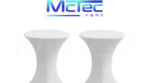 2x Stehtisch + 2x Hussen-Set Bistrotisch Gartentisch 110cm hoch, 70cm durchm., weiß, klappbar, wetterfest