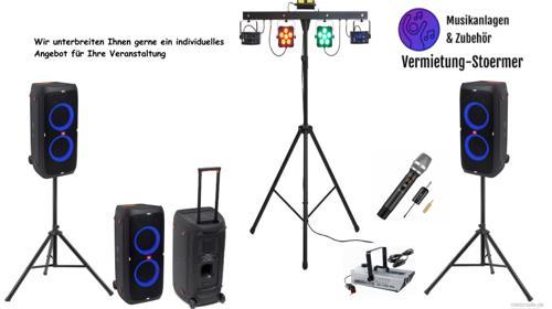 PA Anlage Musikanlage Lichtshow Nebel Mikrofon & mehr