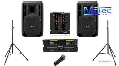 Bis ca. 50 Gäste Lautsprecher Musikanlage Beschallungsanlage Partyanlage Boxen Mischpult Doppel CD Player Mikrofon