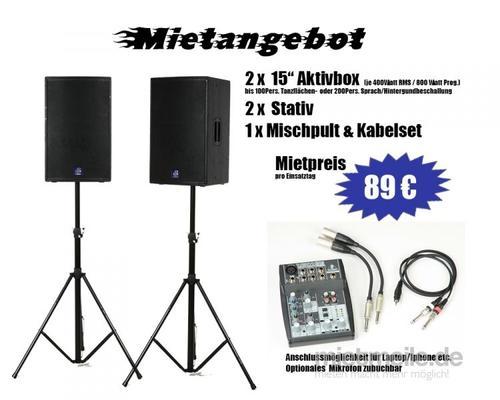 Musikanlage mieten & vermieten - Profi Musikanlage für 100 Personen für Ihr Event in Selm