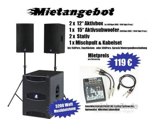 Musikanlage mieten & vermieten - Tonanlage für ca. 150 Personen , Musikanlage , PA  in Selm