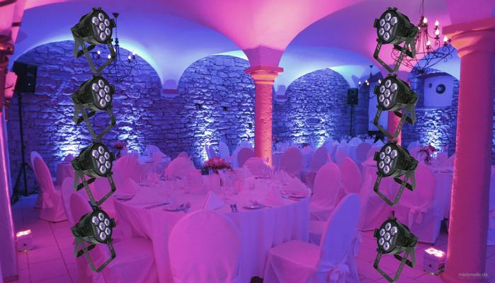Leuchten & Lampen mieten & vermieten - 8er Set LED Floorspots zur Beleuchtung - auch mit Akku erhältlich. LED Beleuchtung in Lampertheim