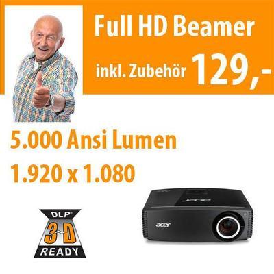 Beamer mieten & vermieten - 5.000 Ansi Lumen tageslichttauglicher DLP Full HD in Dresden