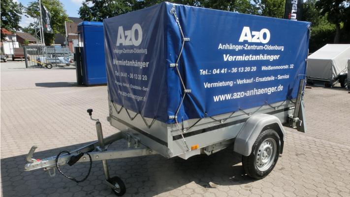 Planenanhänger mieten & vermieten - Kleiner Anhänger mit Hochplane - Innenhöhe 117 cm 750kg in Oldenburg (Oldenburg)