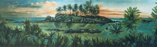 Kulissen mieten & vermieten - Karibische Palmeninsel Kulisse, Kulisse, Palmen, Palme, Insel, Karibik, karibisch, Palmeninsel, Südseeinsel in Kamp-Bornhofen