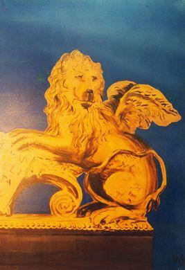 Kulissen mieten & vermieten - Venedig Löwen Kulisse, Löwe, goldener Löwe, Kulisse, Venedig, venezianisch, Löwe mit Flügeln, Italien, italienisch in Kamp-Bornhofen