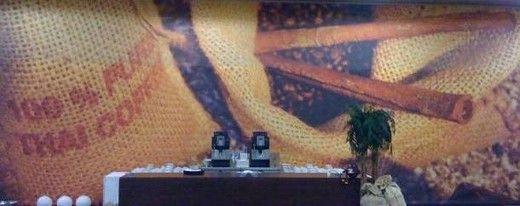 Kulissen mieten & vermieten - Kaffeebar Kulissenmotiv, Motiv, Kaffee, Cafe, Kulisse, Kaffeebar, Bar, Kaffeebohnen, Bohnen, Bohnensack, Sack in Lahnstein