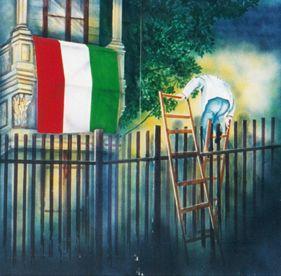 Kulissen mieten & vermieten - Ungarn Kulisse, Ungarn, Kulisse, Dekoration, Italien, italienisch, Flagge, Fahne, Event, Messe, Veranstaltung, leihen in Kamp-Bornhofen