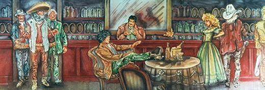 Kulissen mieten & vermieten - Western Saloon Kulisse mit Dame, Western, Kulisse, Saloon, Bar, Wilder Westen, Cowboys, Dekoration, Event, Messe in Kamp-Bornhofen