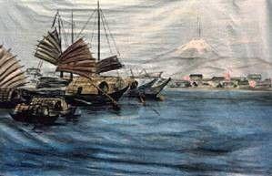 Kulissen mieten & vermieten - Japan Fudschijama Kulisse, Kulisse, Japan, Dschunken, Fudschijama, Japanisch, See, Segelboot, Segelschiff, japanisch in Kamp-Bornhofen