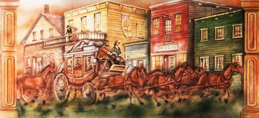 Kulissen mieten & vermieten - Western Postkutsche Kulisse, Postkutsche, Kutsche, Pferdekutsche, Western, Wilder Westen, Cowboy, Kulisse, Dekoration in Kamp-Bornhofen