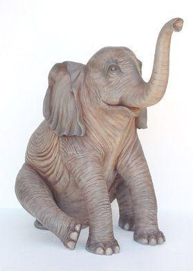 Dekofiguren mieten & vermieten - Sitzender Elefant Figur, Elefant, Figur, Savanne, Afrika, Tier, Wildtier, afrikanisch, Indien, indisch, Asien, Asia in Kamp-Bornhofen