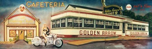 Dekorationsservice mieten & vermieten - Amerika Golden Arrow Kulisse, Amerika, Kulisse, Golden Arrow, USA, amerikanisch, Cafeteria, Cafeteria Kulisse, Event in Kamp-Bornhofen