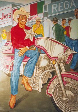 Dekorationsservice mieten & vermieten - Amerika Cowboy mit Harley Kulisse, Cowboy mit Harley, Cowboy, Amerika, USA, Kulisse, Harley, Motorrad kulisse, Event in Kamp-Bornhofen