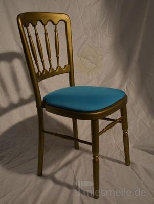 Stühle mieten & vermieten - Holzstuhl gold mit türkis Polstern in Rosenheim