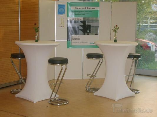 Tische mieten & vermieten - Stehtisch 70cm mit Husse weiß in Rosenheim