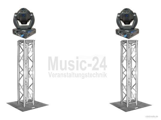 Lichttechnik mieten & vermieten - Lichtset 2x Traversenstempel LED Moving Heads, Global Truss F34 Traversen, Stahlbodenplatten in Wismar