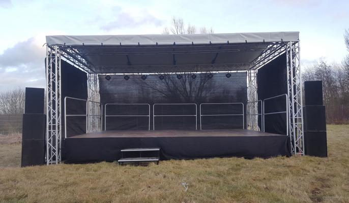 Bühne mieten & vermieten - 8x6m Open Air Bühne, Giebeldachbühne, Showbühne, Eventbühne, Bühnendach in Wismar