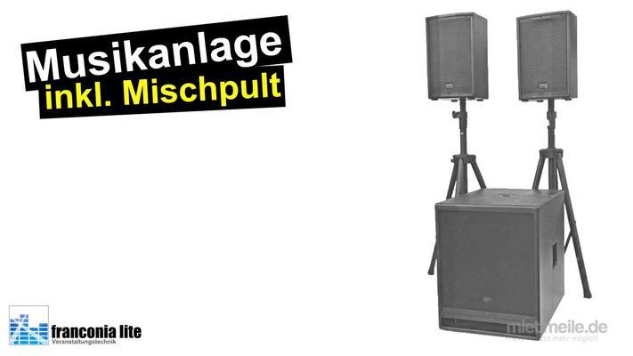 Musikanlage mieten & vermieten - Komplette Musikanlage für Hochzeit, Polterabend und Geburtstagsfeier in Fürth