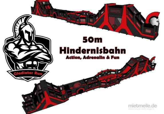 Hüpfburg mieten & vermieten - 50m XXL Hindernisbahn Gladiator Run in Frankfurt am Main