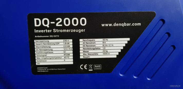 Stromgenerator mieten & vermieten - Stromerzeuger Notstromaggregat Inverter Denqbar mieten vermieten in Görgeshausen